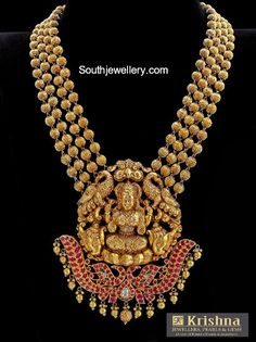 22 Carat gold antique finish four line gold balls mala with Goddess Lakshmi pendant studded with precious stones by Krishna Jewellers, Pearls Gold Mangalsutra Designs, Gold Earrings Designs, Gold Jewellery Design, Gold Jewelry, Handmade Jewellery, Quartz Jewelry, Earrings Handmade, Jewelery, Gold Necklace