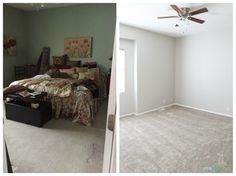 Master bedroom before and after. New paint color is Sherwin Williams Agreeable Gray. New Paint Colors, Bedroom Paint Colors, Gray Bedroom, Master Bedroom, Sherwin Williams Gray, Life On Virginia Street, Agreeable Gray, Repose Gray, Comfort Gray