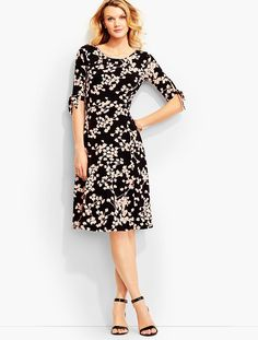 Vine-Print Tie-Sleeve City Jersey Dress - Talbots