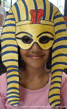 What an awesome culminating activity art project! Shown: Tutankhamun Masks.