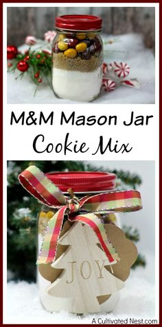 Want to give a homemade gift this year? You can't go wrong with food! Everyone will love this M&M Mason jar cookie mix recipe! So easy to put together!
