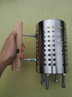 ->Last year we decided that we want to use a chimney starter. We bought one from Weber and it works very well! But some times we don't need all the charcoal fitting in the big Weber chimney. Utensil Racks, Utensil Holder, Bbq Chimney, Cool Camping Gadgets, Bbq Pit Smoker, Poultry Equipment, Hanger Bolts, Outdoor Oven, Camping Stove