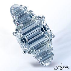 Style 1700 Platinum diamond ring featuring a beautiful 3.0 ct emerald-cut diamond enhanced by perfectly matched graduated trapezoid diamonds on the shank. #diamondring #engagementring