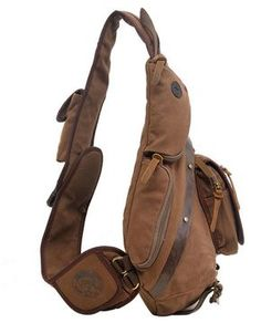 Aibag Unisex Multi-functional Rugged Canvas Leather Single-shoulder Cross  Body Chest Pack Bag f688348b42912