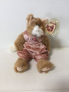 PLUSH BROWN CAT, Vintage stuffed brown cat, tabby cat, Ty Attic Treasures cat, Ty Pouncer, cat in pink overalls,Ty Beanie Baby, stuffed cat