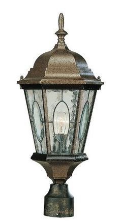 Trans Globe Lighting 4716 BG 1-Light Post Lantern, Black Gold by Trans Globe Lighting. $81.94. An ornate and charming late 19th century Victorian era outdoor collection of lights. Imperial French finial and clear window insets with watered glass all around.. Save 16% Off!