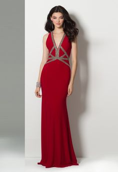 4a5c4c36fc Jersey Plunge Crystal Beaded Dress from Camille La Vie and Group USA Prom  Looks