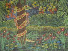 Waldorf ~ 3rd grade ~ OT Stories ~ Serpent in the Garden ~ chalkboard drawing