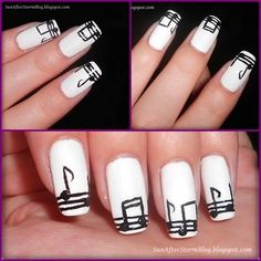 Musical  black and white #nail art #nails www.finditforweddings.com