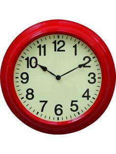 Creative Co-Op Urban homestead Round Metal Wall Clock, 16-Inch, Red ❤ Creative Co-Op