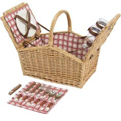 Amazon.com : Best Choice Products 2-Person Wicker Double Lid Picnic Basket W/ Flatware, Glasses, Plates- Red/White : Patio, Lawn & Garden