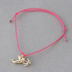 Hot Pink String Friendship Bracelet Gold Cupid Charm from Kellinsilver.com