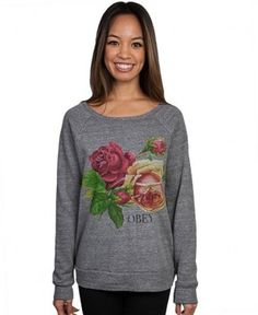 Obey - Bed Of Roses Crewneck Sweater - $52