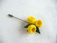 Купить Брошь игла иголка Желтая малина Полимерная глина Ягоды Летняя - брошь