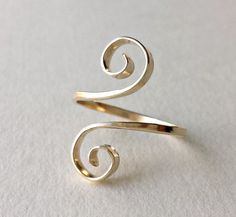 Sterling Silver Spiral Ring Gold Swirl Ring by BellaAnelaJewelry