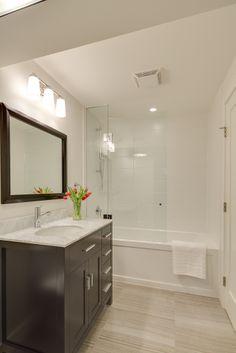 Bathroom sconces, Ultra silent Broan fan and moisture resistant shower pot light.