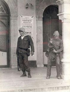 Palestinians protecting a Jewish Synagogue in Beirut from attacks during the Lebanese Civil War. December, 1975