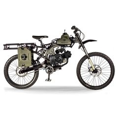 The @motoped Survival Bike. This bike comes outfitted with a crossbow, one-gallon gas pack, a survival shovel, a tomahawk, a harpoon, etc. Perfect for the zombie apocalypse.