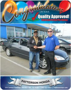 Congratulations to Willie Compton Sr. on his new 2006 Honda Accord. - From Casey Svatek at Patterson Honda.