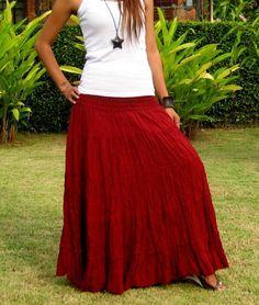 Dlouhá sukně 100 cm - pružný pas - ČERVENÁ