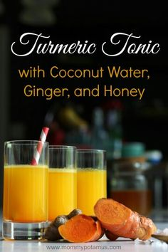 2 cups coconut water  (This brand doesn't have any additives/preservatives) 2 inch knob fresh turmeric (1 oz weighed) OR 1/2 – 1 teaspoon dried turmeric 1 inch fresh ginger root (about 1/2 oz weighed) 1 lemon 1/4 teaspoon unrefined sea salt (where to buy unrefined salt) 1-2 tablespoons honey (where to buy honey) Directions
