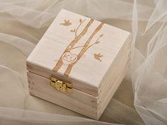 tree Wood Wedding Ring Bearer Box, Rustic Wooden Ring Box ,  lovebirds wedding ring box on Etsy, $32.00