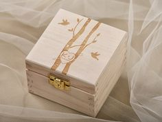 tree Wood Wedding Ring Bearer Box, Rustic Wooden Ring Box ,  lovebirds wedding ring box on Etsy, $32.00