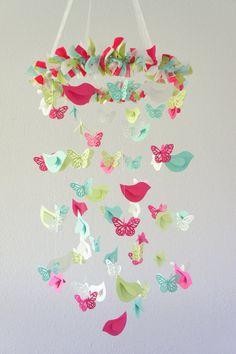 Butterflies & Birds Nursery Mobile, Baby Shower Gift. $63.00, via