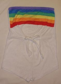 Vintage 1970's White Rainbow Terry Cloth Romper Jumper Shorts Tank Top.  I wore this exact one!