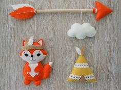 Items similar to Tribal mobile Wall decoration Indian fox Teepee and Arrow Decoration for baby child Birth gift Birthday Baby shower on Etsy Baby Shower Items, Baby Shower Gifts, Baby Gifts, Felt Crafts, Diy And Crafts, Crafts For Kids, Birthday Decoration Items, Indian Teepee, Arrow Decor