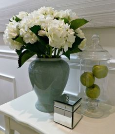 Hydrangea White Waterproof Artificial on display instore at Hamptons Style. Hamptons Style Decor, The Hamptons, Artificial Floral Arrangements, Flower Arrangements, Coastal Style, Coastal Decor, Formal Living Rooms, Living Room Decor, Hamptons Living Room