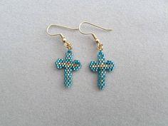 Small Turquoise Beaded Cross Earrings