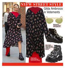 """NYFW STREET STYLE-Gilda Ambrosio in Vetements"" by kusja ❤ liked on Polyvore featuring Alexander Wang, Vetements, StreetStyle, NYFW, fashionWeek, newyorkfashionweek and PolyvoreNYFW"