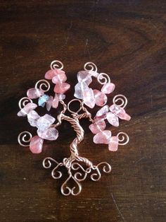 Floating Tree of Life Pendant  Rose Quartz by twires on Etsy, £15.00 - sweet