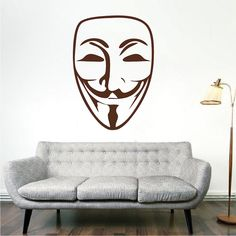 Guy Fawkes Mask Decal Sticker _ Guy Fawkes Wall Mural _ Guy Fawkes Mask Wallpaper _ Super Hero Wall Decals _ Trendywalldesigns