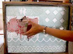 Dear Human screen printing on to ceramic mug.