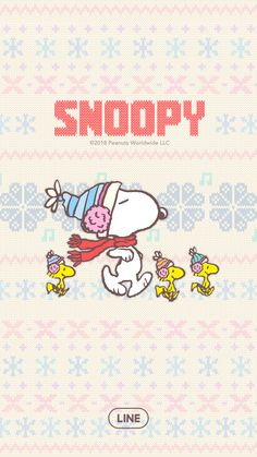Dress your LINE in some adorable Nordic-themed knitwear with this theme's soft and warm design. Bundle up this winter with Snoopy and friends! Snoopy Love, Charlie Brown And Snoopy, Snoopy And Woodstock, Cute Christmas Wallpaper, Xmas Wallpaper, Peanuts Cartoon, Peanuts Snoopy, Kawaii, Snoopy Images