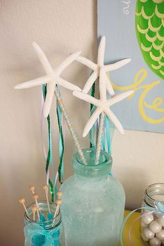 starfish wands for a mermaid birthday party... but what about adding to a flower arrangement?!