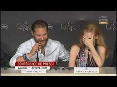 Tom Hardy's bits from the press conference for Lawless at Cannes - I'm right there with Jessica....