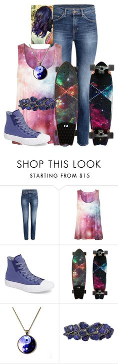 """#1395 Galaxy Skater"" by arasshjit ❤ liked on Polyvore featuring Converse and Arunashi"