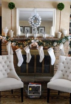 such a pretty snowflake themed mantel! (In case I decide to stay with blue and silver for my tree this year)