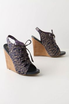 deaa210160b Anthropologie Due Farina Sketched Lace-Up Wedges Anthropologie Shoes