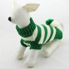 Sveter pre psov - pletený zelenobiely, L