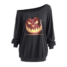 ❤️ Yaida❤️Women Plus Size Long Sleeve Halloween Angry Pumpkin Skew Neck Tee Blouse Tops (XXL, Black) Best Halloween Costumes & Dresses USA Long Sleeve Tunic, Long Sleeve Tops, Christmas Tee Shirts, Halloween Outfits, Halloween Costumes, Women Halloween, Halloween Horror, Happy Halloween, Blouses For Women