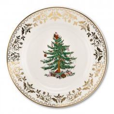 Spode Christmas Tree Gold Collection Set of 4 Salad Plate Sets