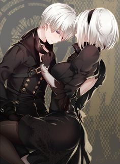 イラスト with nier nier: automata yorha yorha 長身像 短い髪 乳房 purple eyes standing 尻 holding silver hair bent knee (knees) couple hair over one eye looking down puffy sleeves hand on chest bare back Me Anime, Anime Neko, Manga Anime, Manga Art, Manga Couples, Nier Characters, Drakengard Nier, Familia Anime, Anime Love Couple