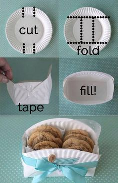 Paper plate basket. Bake cookies with the kids then deliver them to someone in this cute basket.