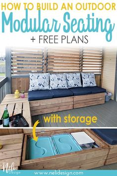 DIY outdoor modular bench with storage Learn how to DIY an outdoor modular seeting with storage and cushions. You'll know how to build an outdoor sectional bench. You'll get free plans with a tutorial so you can build your own outdoor patio furniture. Resin Patio Furniture, Diy Garden Furniture, Diy Outdoor Furniture, Pallet Furniture, Furniture Ideas, Furniture Storage, Rustic Furniture, Antique Furniture, Furniture Design