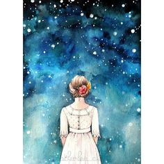 Starry Night Sky and Girl Watercolor Art Painting Print ❤ liked on Polyvore