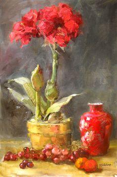 Red Amaryllis 19x23  oil  Barbara Schilling